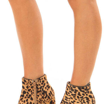 Leopard Print Peep Toe Wedge Booties