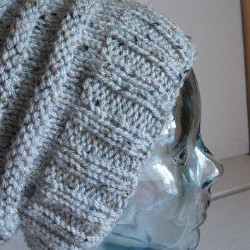 Knitted hat, grey marble, knit hat, hand knit slouchy hat, rib knit hat, beehive hat, tam