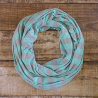 Ready to Ship Mint and Heather Gray Stripe Infinity Scarf Gifts For Her Women's Accessories