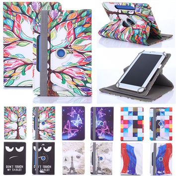 Histers Printed Universal Cover for 7 Inch Tablet Megafone Login 4 LTE Tablet 360 Degree Rotating PU Leather Stand Case