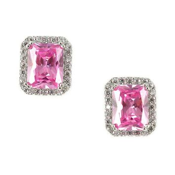 Pink Sterling Silver Stud Earring Ring Jewelry Set