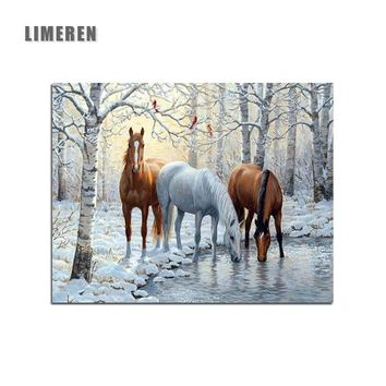 Snow Horses Animals Picture Painting By Numbers DIY Painting Coloring By Numbers Wall Art Home Decor For Living Room