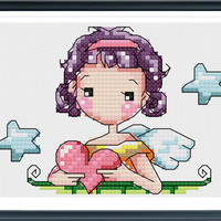 Girl With Heart , Cross Stitch Pattern , Modern Cross Stitch , Girl With Heart fashion