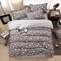 Grey Stars Stripes Bedding Set Polyester Super Soft Duvet Cover Flat Sheet Pillowcase Full Queen Size King 4/3 Pcs