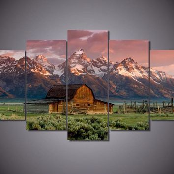 Old Barn Grand Teton 5-Piece Wall Art Canvas