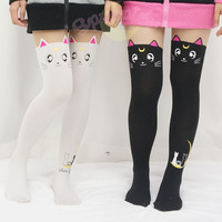[3 For 2] Screaming! Sailor Moon Luna/ Artemis Kitten with Tail on Back Legging Tights Free Ship SP141305 from SpreePicky