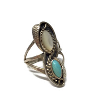 Native American Turquoise and Moonstone Ring, Turquoise Ring, Native American Ring, Southwestern Ring, Navajo Jewelry, Elongated Ring