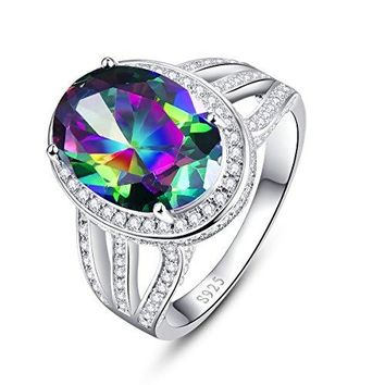 BONLAVIE 925 Sterling Silver Engagement Ring with 10x14mm Oval Cut Created Mystic Rainbow Topaz
