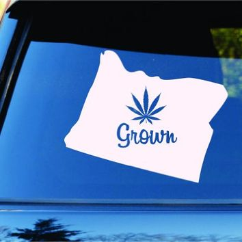 Dabbledown Decals Oregon Grown State Shape Weed Leaf Car Truck Window Windshield Lettering Decal Sticker Decals Stickers JDM Drift Dub Vw Lowered Jdm Fresh Detailed Stance Fitment 4x4