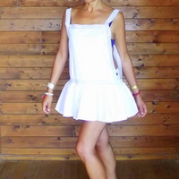 Lace Beach Cover Up Dress White / Bohemian lace top dress / cover up dress swim / mini dress /