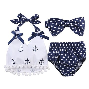 2018 New 3pcs Baby Girl Clothes Anchor Tops and Navy Polka Dots Briefs Outfits Set Sunsuit Outfit Clothing Set