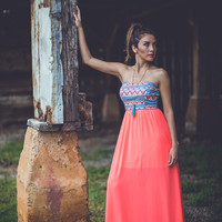 Neon Aztec Maxi in Coral