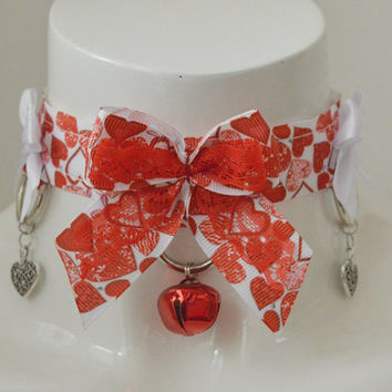 Raining hearts - white and red romantic kawaii cute neko ddlg kitten pet play collar with bell and three leash rings - BDSM play proof
