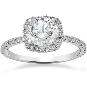 14k White Gold 2ct TDW Cushion Halo Diamond Engagement Ring | Overstock.com Shopping - The Best Deals on Engagement Rings