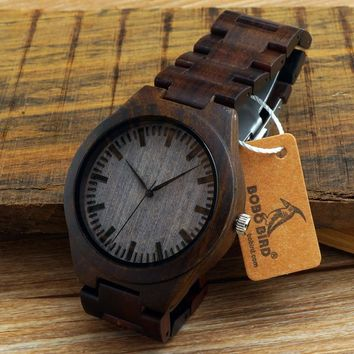 Ebony wooden watch with wood straps japanese miyota 2035 movement wristwatches