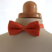 orange bow tie, naturally dyed tie, men bowtie silk bow tie, christmas gift for him, hand dyed bow tie orange silk mens gift eco made in uk