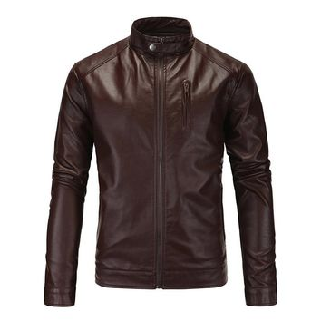 New Motorcycle Jacket Classic Vintage Mens PU Leather Jackets Brown Biker Jacket Coats Stand Collar Male Moto Jackets  SizeM-5XL