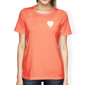 Melting Heart Women's Peach T-shirt Cute Crew-Neck Tee For Couples