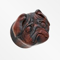 A Pair of The Adorable Pug Double Flared Ear Gauge Plug