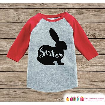 Girls Spring Outfit - Sister Bunny Shirt or Onepiece - Bunny Silhouette Family Shirts - Baby, Toddler - Girls Easter Sibling Shirts - Red