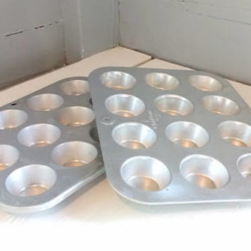 Mini Muffin, Muffin Pan, 12 cup, Cupcake Tins, Comet, Chilton Ware , Aluminum, Baking, Pan, Kitchen, Craft Storage, Lot of Two, Vintage