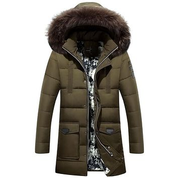 Mens Hooded Fur Coats Down Jacket X-Long outwear Men's Warm Chaquetas 2017 Top Quality Casual Parka Thick Duck Down Jacket 3XL
