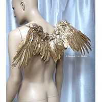 Small Gold Rhinestone Angel Wings Samba Cosplay Dance Costume Rave Bra Halloween