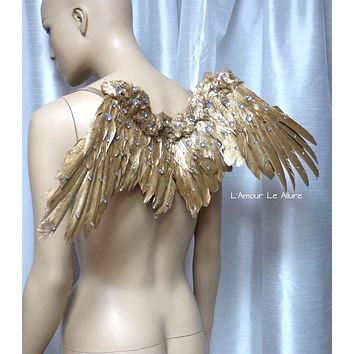 Small Gold Rhinestone Angel Wings Samba Cosplay Dance Costume Rave Halloween