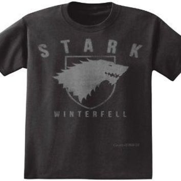 Game of Thrones HBO Stark Direwolf Winterfell Men's Black T-Shirt