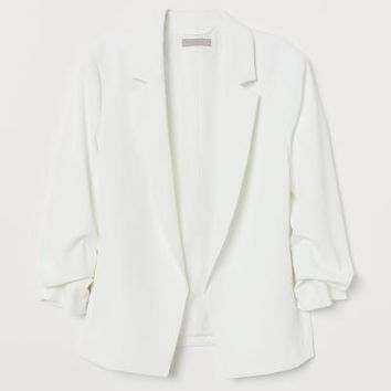 Jacket with Gathered Sleeves - Cream - Ladies | H&M US