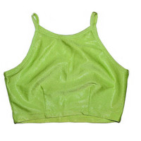 90s Shiny Crop Top Lime Light Green Sleeveless Tank Crop Top Metallic Glitter Small S 1990s