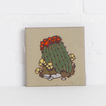 Vintage Southwestern Cleo Teissedre Hand Painted Cactus Tile Coaster or Trivet, Desert Decor Wall Hanging