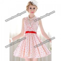 Elegant V-Neckline Floral Print and Ruffled Design Women's Polyester Dress