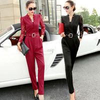New 2016 Spring Fashion Women Jumpsuits Rompers Hot Sale Casual Elegant Rompers Lace Sleeve Female Jumpsuit Plus Size Overalls