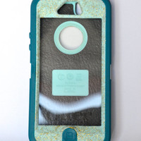 Otterbox Case iPhone 5 Glitter Cute Sparkly Bling Defender Series Custom Case Crystal /Mineral Blue