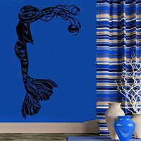 Wall Decal Vinyl Sticker Decals Mermaid Nymph Nature Hair Beauty Sea Animal Wall Stickers Home Decor Nautical Bathroom Art Bedroom Design Interior Wall Decor Mural C521