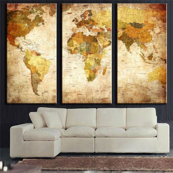 3 Panel Vintage World Map Canvas Painting Oil Painting Print On Canvas Wall Art