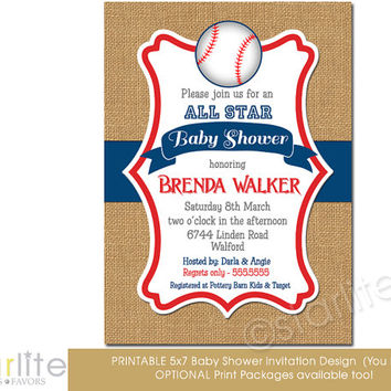 Baby Shower Invitation Baseball, Allstar Baby Slugger - blue, red, brown burlap, vintage style - baby boy - unique invitation - You Print