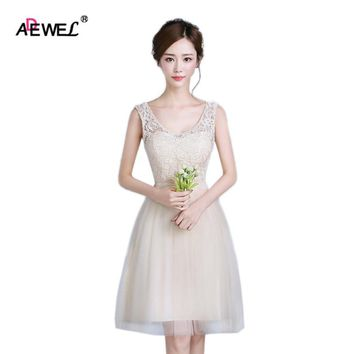 ADEWEL Cute Champagne Summer Knee-Length Wedding Party Dresses Womens Mesh Lace special occasion short Dresses
