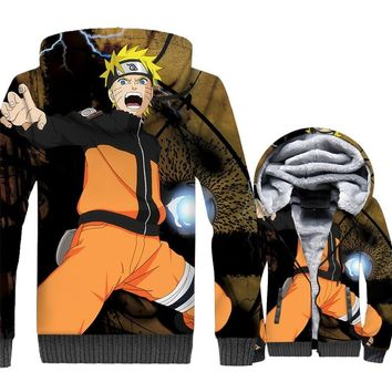 Naruto Men Larger Hoodies Jackets Hip Hop Sweatshirt Harajuku Thick Fleece Character Cosplay