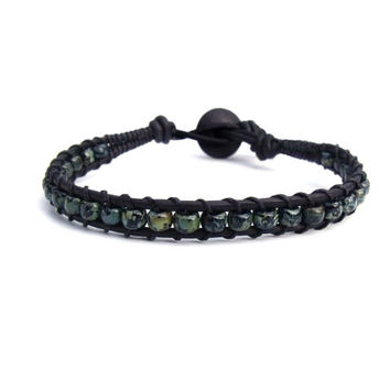 Black Blue Green Leather Bracelet Mens Rustic Hipster Womens Boho Bohemian Chic