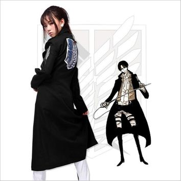Cool Attack on Titan Anime  Adult Halloween no  Levi Rivaille Black Windbreaker Jacket Cloak Cosplay Costume AT_90_11
