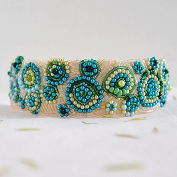 Under The Sea - on sale one of a kind headband, beaded headband