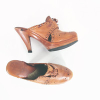70s Clogs, High Heel Clogs, Vintage Cognac Brown Leather Clogs, QualiCraft Made in Brazil -- Womens 7