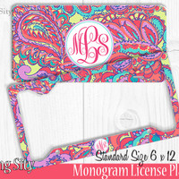 Groovy Paisley Monogram License Plate Frame Holder Metal Wall Sign Tags Personalized Custom Vanity Plate