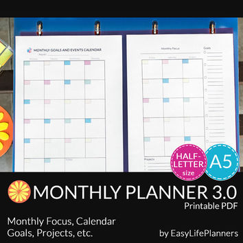 MONTHLY PLANNER A5. Half size printable pdf. Filofax/Personal undated organizer and To Do list. Instant Download. 2 documents.