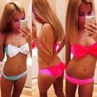 Women Fashion Sexy Bow-knot  strapless Self-tie Trible Bow Beach Triangle  Bikini Set Swimwear [8321410183]