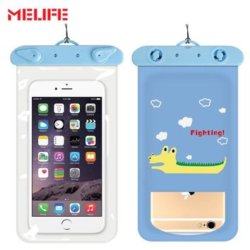 MELIFE Cartoon Swimming Bags Thicker Touch Waterproof Mobile Phone Bags Dry Protection Sport Bag For 4 Inch-6 Inch Smartphone