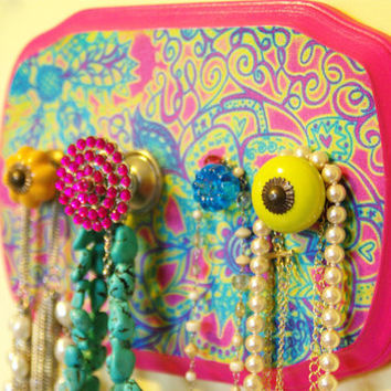 Jewelry Holder, Necklace Display, Bright colors, Neon colors, Girls room decor, Cute Knobs, Colorful