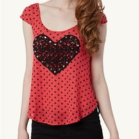 Crochet Heart Dot Top